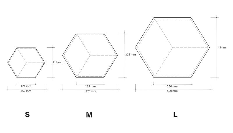 hexagon wallobject afmetingen